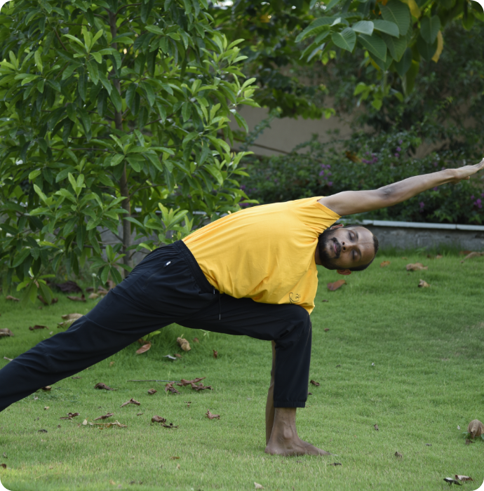 young man practicing heartfulness yoga